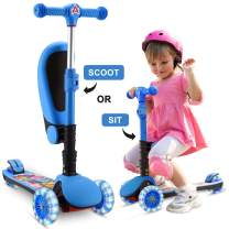 SANSIRP 2-in-1 Kick Scooter for Kids, 3 Wheel Scooter with Folding/Removable Seat Adjustable Height Light Up Wheels for Toddlers Girls & Boys 2-12-Years-Old