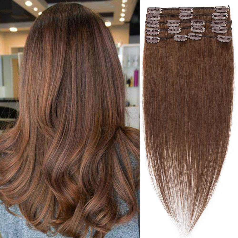 Clip in Hair Extensions 100% Human Hair Clip On Real Hair Standard Weft Natural Straight Seamless Clips Remy Hair Clip Ins Hairpieces Full Head For Women 8 Pcs 18 Clips 16 inch 65g #04 Medium Brown