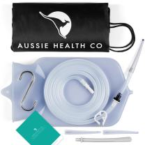 Aussie Health Co Non-Toxic Silicone Enema Bag Kit. 2 Quart. BPA & Phthalates Free. for at Home Water & Coffee Colon Cleansing. Clear Color. Includes Instruction Booklet.