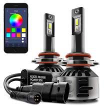 DAYLEAD RGB LED Headlight Bulb Conversion Light kit APP Bluetooth Control Multi-color 6000K Cool White (9005)
