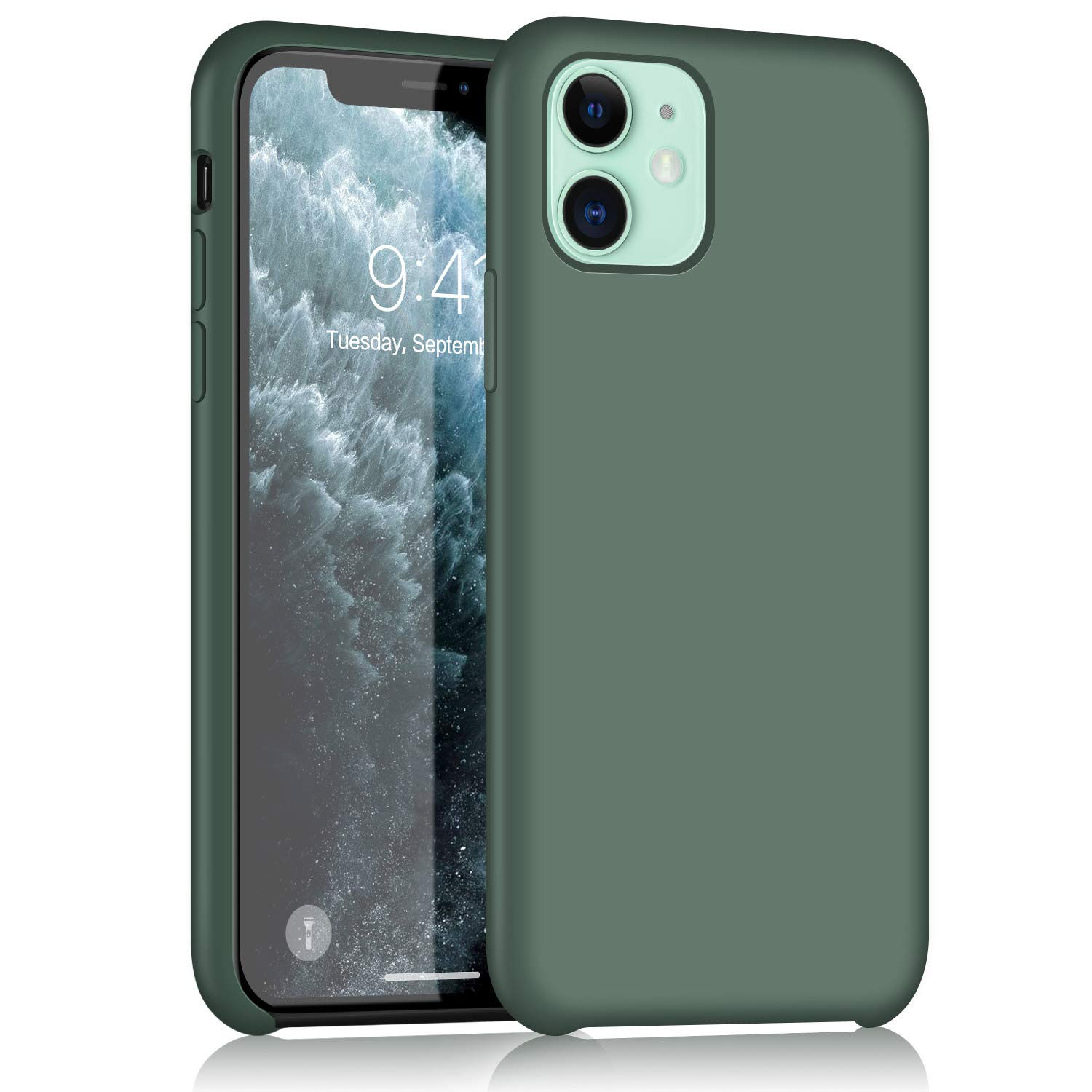 XSHNUO iPhone 11 Silicone Case, Liquid Silicone Gel Rubber Ultra Thin Case with Soft Microfiber Cloth Lining Cushion for iPhone 11 (2019) 6.1 inch (Pine Green)