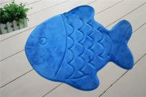 Memory Foam Bath Mat-Incredibly Soft and Absorbent Rug, Cozy Velvet Non-Slip Mats Use for Kitchen or Bathroom (22 Inch x 27 Inch, Blue Fish)