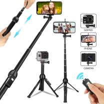 Selfie Stick Tripod,45 Inch All in one Portable Phone Tripod Extendable Stand with Wireless Remote, Compatible with iPhone 11 Pro Xs MAX XR X 8 7 6S Plus Android Galaxy S10 S9 S8 Note8 Smartphone