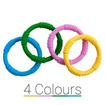The Original Baby Teether Rings [4 Colors] Soother Infant Teething Toy - Dental Molar Pacifier - BPA Free Babyshower Gift