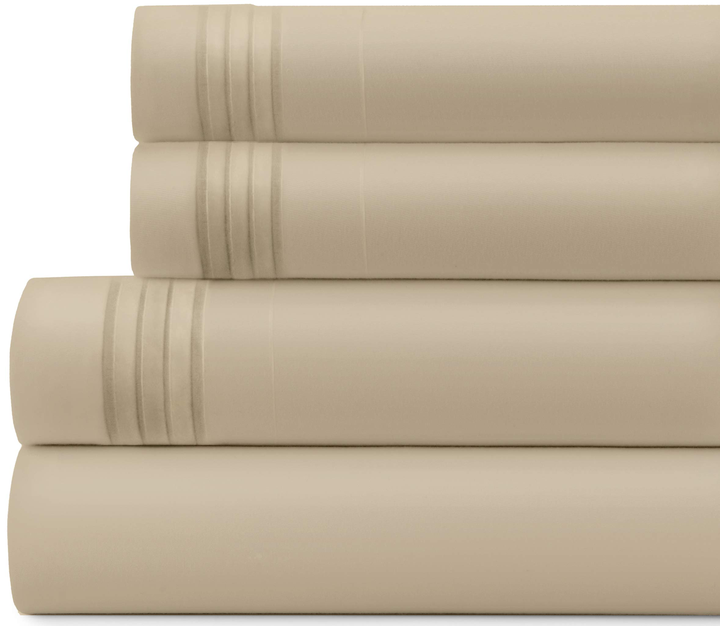 Briarwood Home Bed Sheet Set – Brushed Microfiber 1900 Premium Quality Soft Fabric Breathable Bedding – Deep Pocket – Wrinkle, Fade & Shrinkage Resistant 3 Piece Sheets (Twin/Beige)