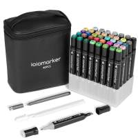 ioiomarker 40 Colors Permanent Marker pen, Alcohol-Based Dual Tip Markers with Broad and Fine Point Tips for Draw/Sketch/Illustrate/Design, Classic Black Leather Gift Bag(Animation Design)