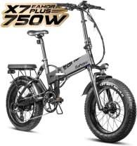 EAHORA Ebike 20 in Electric Bike X7 Plus 750W Folding Ebike for Adults 48V 10.4ah Battery, Hydraulic Brakes and Full Suspension and Shimano 8 Speed Gears, Power Regeneration System, Cruise Control
