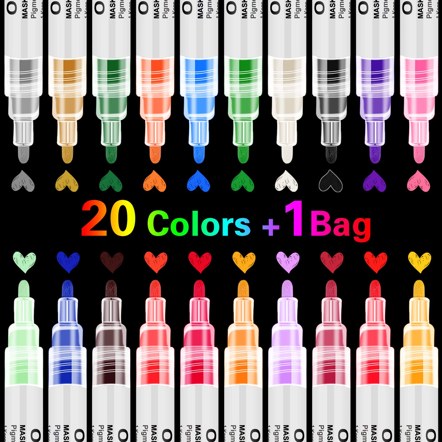 Acrylic Paint Marker Pens, OUSI 20 Paint Markers for Kids Adults Paint Pens for Rocks Painting Canvas Photo Album DIY Craft School Project Glass Ceramic Wood Metal Water Based Extra Fine Tip