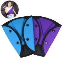 AK KYC 2 Pack Seatbelt Adjuster for Kids Car Child Seatbelt Adjusters Belt Cover Strap Protector Pad for Children Baby Adult Shoulder Neck Safety Triangle Positioner Purple + Blue