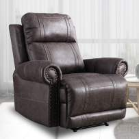 CANMOV Recliner Chair, Faux Leather Luxurious Brass Rivets Decoration Manual Chair, Recliner Chair with Overstuffed Arms and Back, Smoke Gray