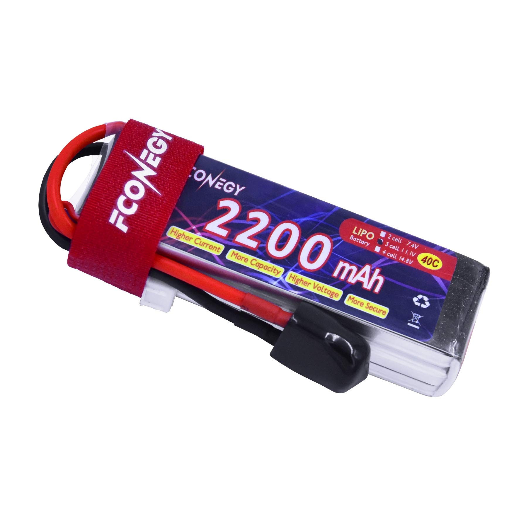 FCONEGY 3S 2200mAh 11.1V 40C Lipo Battery Pack with XT60 Plug for FPV/Quadcopter/Drone/RC Airplane/Helicopter