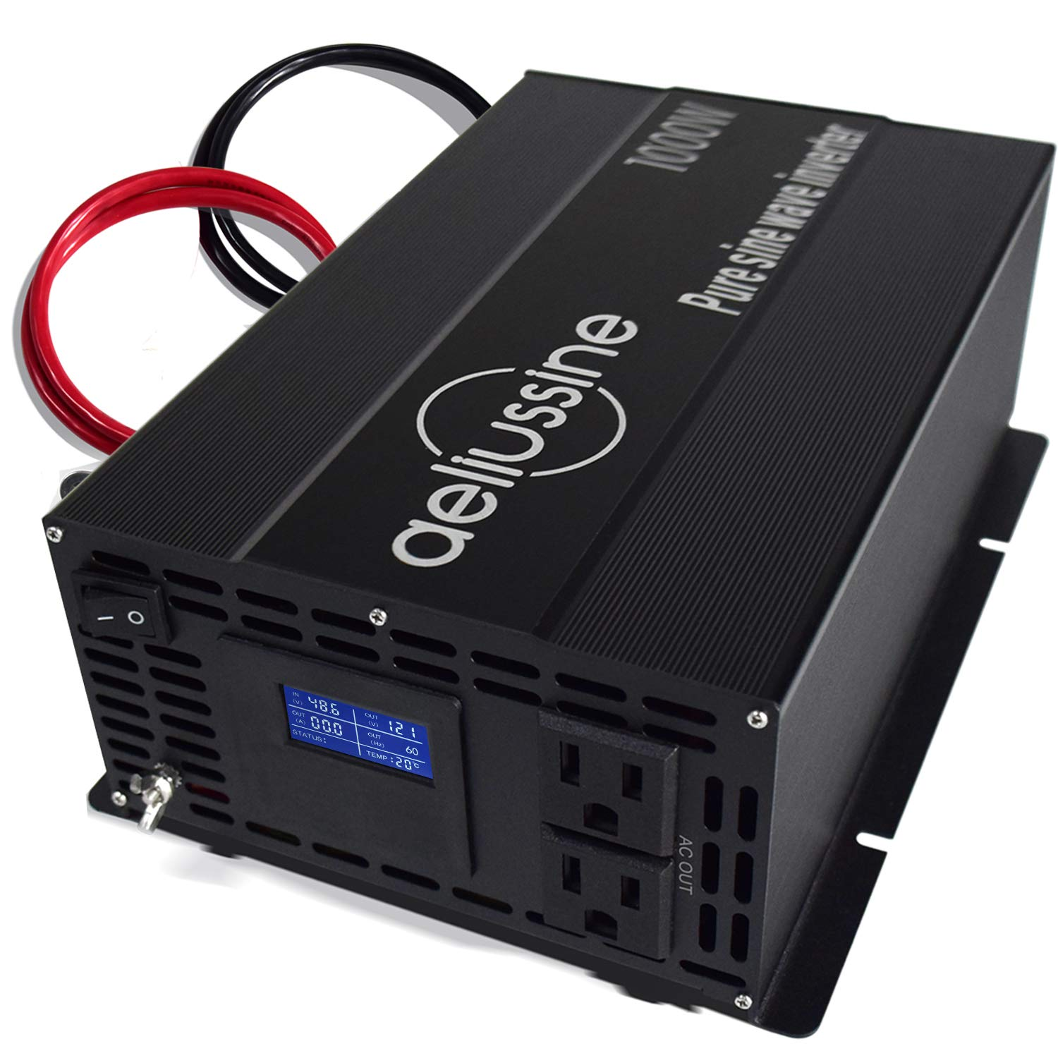 aeliussine 1000w Inverter Pure Sine Wave Power Inverter 48v dc to ac 110v 120v with 2 US Socket, LCD Display and Earth Terminal, for Car RV, Truck, Yacht, and Off Grid Solar Power System (1000w 48v)