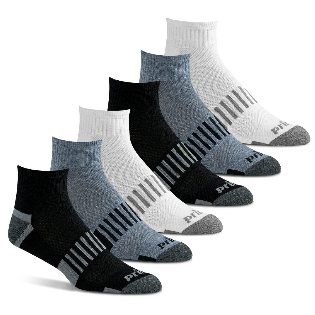 Prince Men's Extended Size Athletic Quarter Socks (6 Pair Pack)