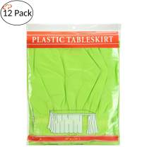 Tigerchef Lime Green 12 Pack 14-inch x 29-inches Long Plastic Table Skirt, Table Skirts Fit Rectangle And Round Table Decorations