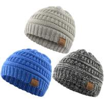 Zando Baby Beanies Infant Toddler Winter Hat Soft Warm Knit Hats Caps for Boys Oreo, Light Grey, Blue One Size