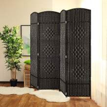 JOSTYLE Room Divider 6ft. Tall Extra Wide Extra Wide Privacy Screen, Folding Privacy Screens with Diamond Double-Weave Room dividers and Freestanding Room Dividers Privacy Screens (Mocha, 4-Panel)