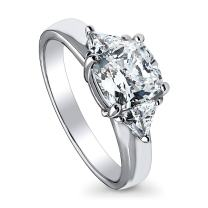 BERRICLE Rhodium Plated Sterling Silver Cushion Cut Cubic Zirconia CZ 3-Stone Anniversary Promise Engagement Ring 2.46 CTW