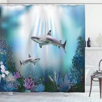 """Ambesonne Underwater Shower Curtain, Realistic Illustration Wild Sharks and Plants Corals Seaweed Aquatic Ocean Life, Cloth Fabric Bathroom Decor Set with Hooks, 70"""" Long, Blue Purple"""