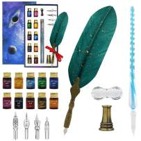 Glass Dip Pen Set, 15-Pieces Calligraphy Dip Pen and Ink Set for Art Writing Drawing, include 10 Color Inks, Crystal Glass Pen, Feather Pen, Pen Holders, 4 Replacement Nibs, Gift for Kids and Artist