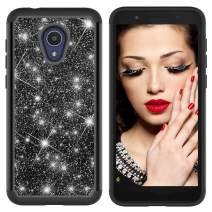 Lantier Heavy Duty Glitter Bling Hybrid Dual Layer 2 in 1 Hard Cover Soft TPU Impact Armor Defender Protective Shockproof Diamond Case for Alcatel 1X Evolve/IdealXtra 5059R/TCL LX Black