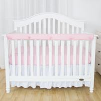 """TILLYOU 1-Pack Padded Baby Crib Rail Cover Protector Safe Teething Guard Wrap for Long Front Crib Rails(Measuring Up to 8"""" Around), 100% Silky Soft Microfiber Polyester, Reversible, White/Lt Pink"""