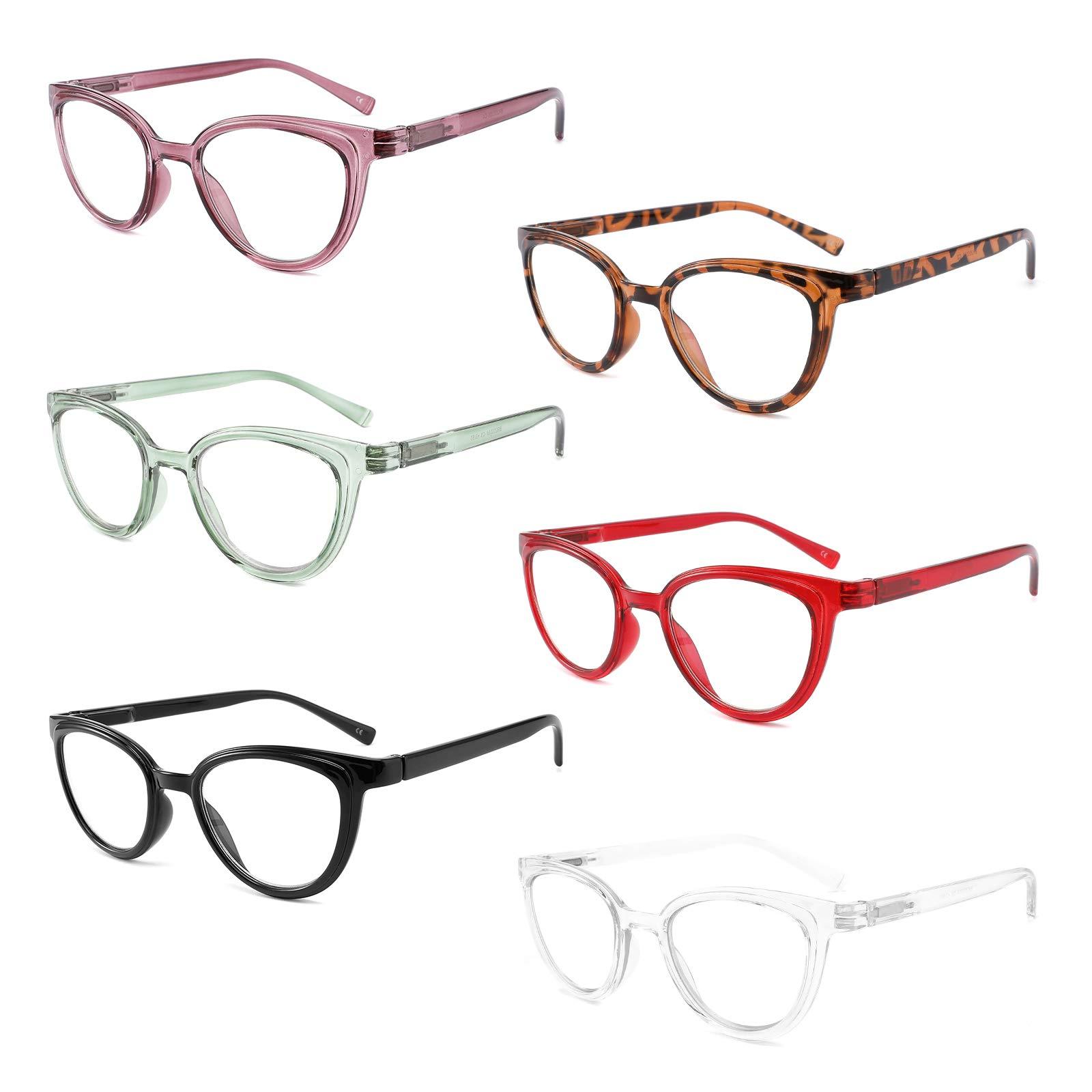 IVNUOYI 6 Pack Reading Glasses Blue Light Blocking Stylish Ladies Readers with Spring Hinges,Anti Glare UV Eyestrain,Computer Eyeglasses for Women 1.0