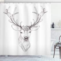 """Ambesonne Antlers Shower Curtain, Sketch of Deer Head Illustration Style Black and White Monochromic Wild Animal Art, Cloth Fabric Bathroom Decor Set with Hooks, 70"""" Long, Warm Taupe"""