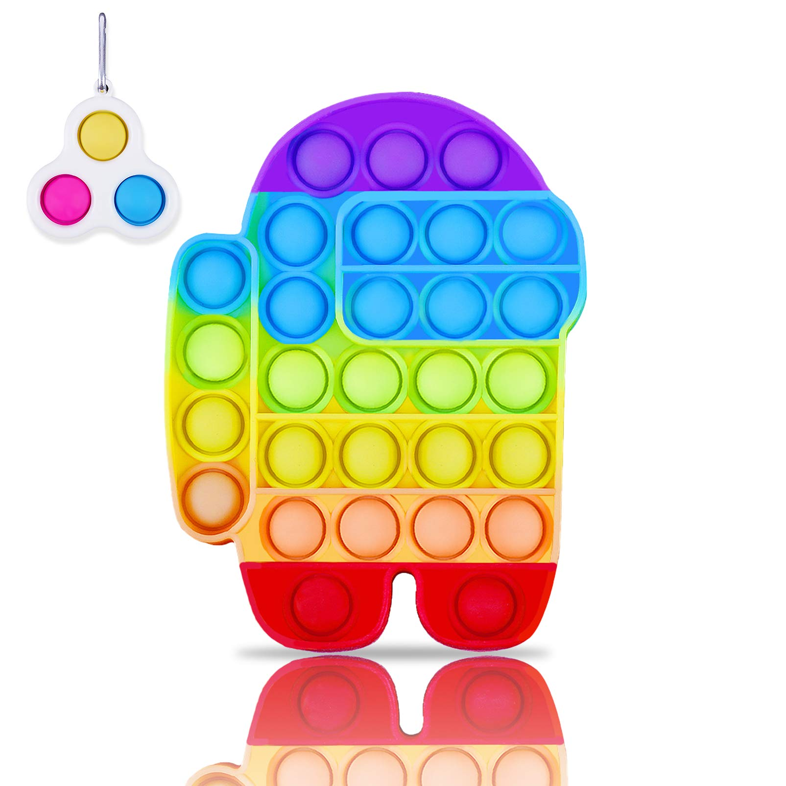 Pop It Rainbow Fidget Toy Sensory Among Us Popit Pack Mini Simple Dimple Popper Keychain Set,Popitz Popet Game Stress Reliever,Gift for Kids Adults Friends Family