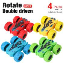 4 Pack Friction Powered Car Toys, Push and Go Toy Cars for Toddlers, Double Side Baby Car, Gifts for 3 4 5 6 7 8 Year Old Boy, Birthday Party Favors for Kids, 360° Rotation, Flips Mini Kids Cars