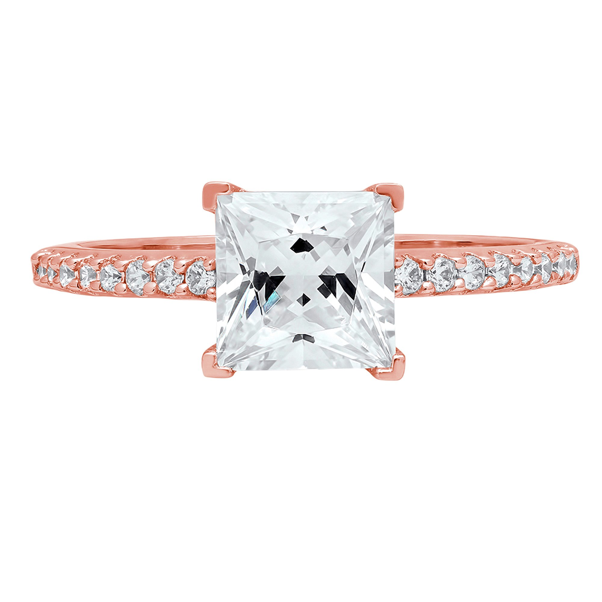 Brilliant Princess Cut Accent Solitaire Engagement Wedding Bridal Promise Ring in Solid 14k Rose Gold For Women 1.86ct
