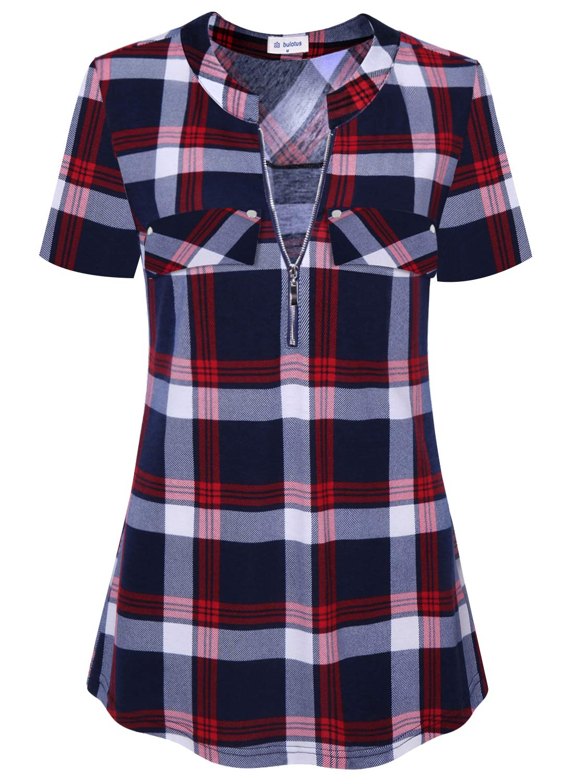 Bulotus Plaid Shirts for Women Tunic Tops Short Sleeve (Red Plaid, Small)
