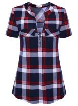 Bulotus Plaid Shirts for Women Tunic Tops Short Sleeve (Red Plaid, Small)