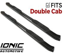 """Ionic 5"""" Black Steel Curved Nerf Bars (fits) 2007-2018 Toyota Tundra Double Cab Only Truck Side Steps (433109BP)"""