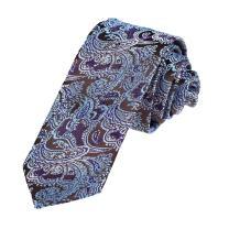 Dan Smith DAE7B05B Blue Brown Gentlemen Skinny Ties Microfiber Skinny Tie Patterned Hallowmas Gift