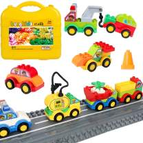 burgkidz 63 Pieces Building Block Toy Cars with Suitcase and 2 Pack Road Baseplate - 8 Different Models Toddler Vehicle Building and Construction Play Gift Set ¡
