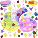 Max Fun 208PCS Easter Foam Stickers Set Easter Eggs DIY Egg Shaped Foam for Kids Crafts Party Favors Supplies