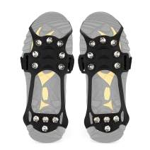 Wirezoll Traction Cleats, Anti Slip 11 Teeth Stainless Steel Durable Silicone Crampons, for Walking, Jogging, Hiking, Mountaineering Ice Snow Grips