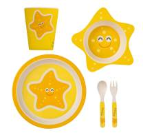 TheClearConscience Bamboo kids dinnerware set I 5 pieces tableware set I Starfish with cutlery I bowl, drinking cup, plate, fork and spoon, reusable, natural material, BPA free I dishwasher safe