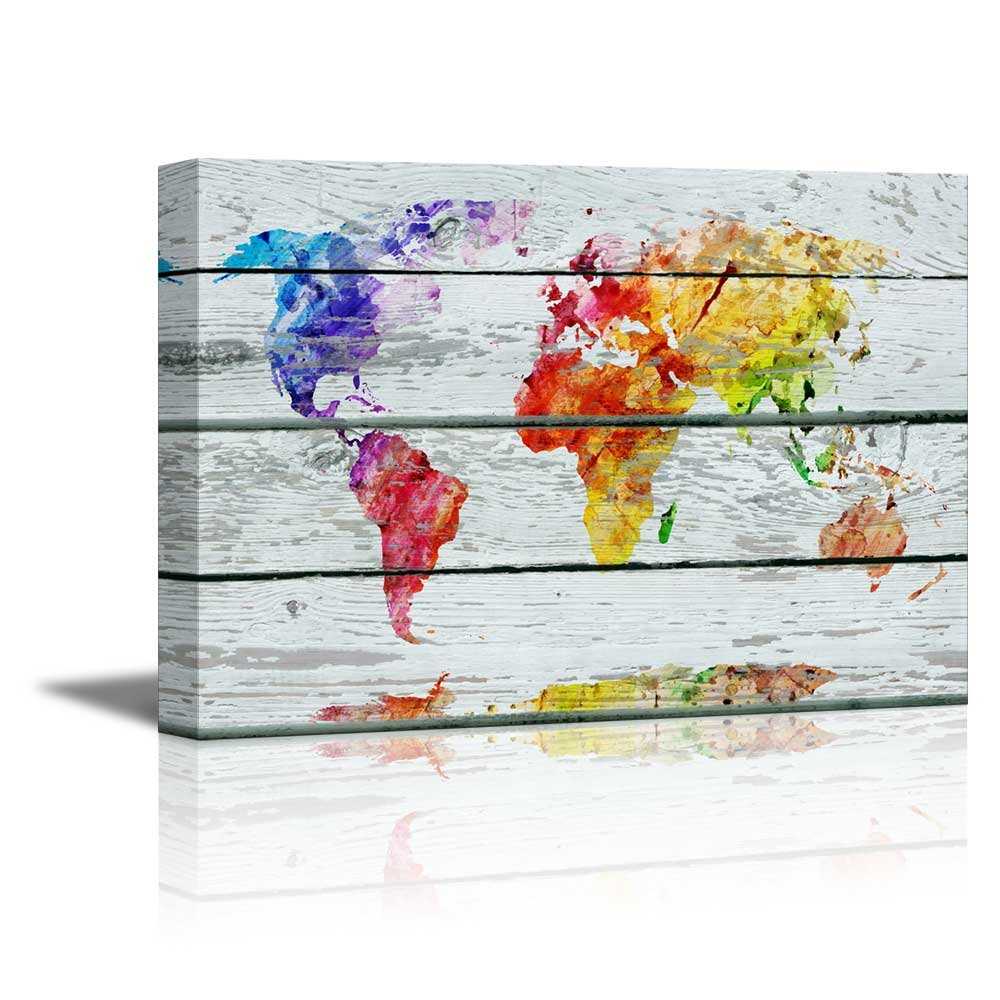 """wall26 - Canvas Prints Wall Art - Abstract Colorful World Map on Vintage Wood Background Rustic Home Decoration - 16"""" x 24"""""""