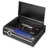 COSTWAY Gun Safe, Quick Access with Biometric Fingerprint Identification & Password & Backup Keys, Heavy-Duty Steel, Pick-Proof Gun safe for 2 Pistols for Home, Auto Open Lid, DOJ Approved