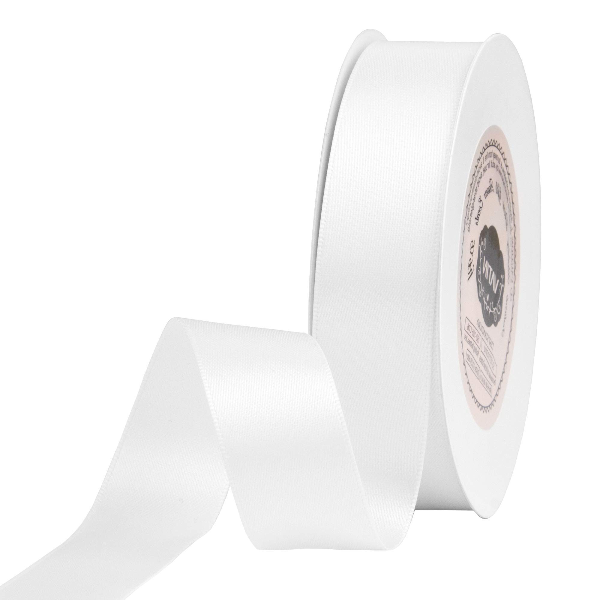 VATIN 7/8 inch Double Faced Polyester Satin Ribbon White - 25 Yard Spool, Perfect for Wedding Decor, Wreath, Baby Shower,Gift Package Wrapping and Other Projects