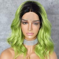 Sapphirewigs Short Black Ombre Green Color Water Wave Beauty Blogger Celebrity Women Daily Makeup Natural Hairline Cosplay Synthetic Lace Front Wedding Party Wig