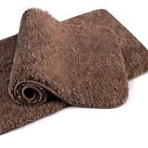 "VANZAVANZU Bathroom Rugs 20""x32"" (2 Pack) Ultra Soft Absorbent Non Slip Fluffy Thick Microfiber Cozy Bath Mat for Tub Shower Bathroom Floors Accessories (Dark Brown)"