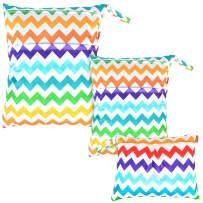 Damero 3pcs Pack Wet Dry Bag for Cloth Diapers Daycare Organizer Bag, Colorful Chevron
