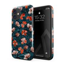 BURGA Phone Case Compatible with iPhone 11 - Red Poppies Flower Bouquet Floral Print Pattern Fashion Designer Cute for Women Heavy Duty Shockproof Dual Layer Hard Shell + Silicone Protective Cover