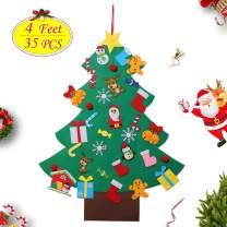 4ft Felt Christmas Tree Set DIY 3D Wall Hanging Xmas Trees Detachable Pendant 35Pcs Ornaments Home Office Classroom Door Decor Kids Gift