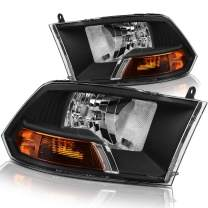 DWVO Headlight Assembly Compatible with 09 10 11 12 Dodge Ram 1500 2500 3500 Pickup Dual Cab Replacement Headlamp,Black Housing Headlamp