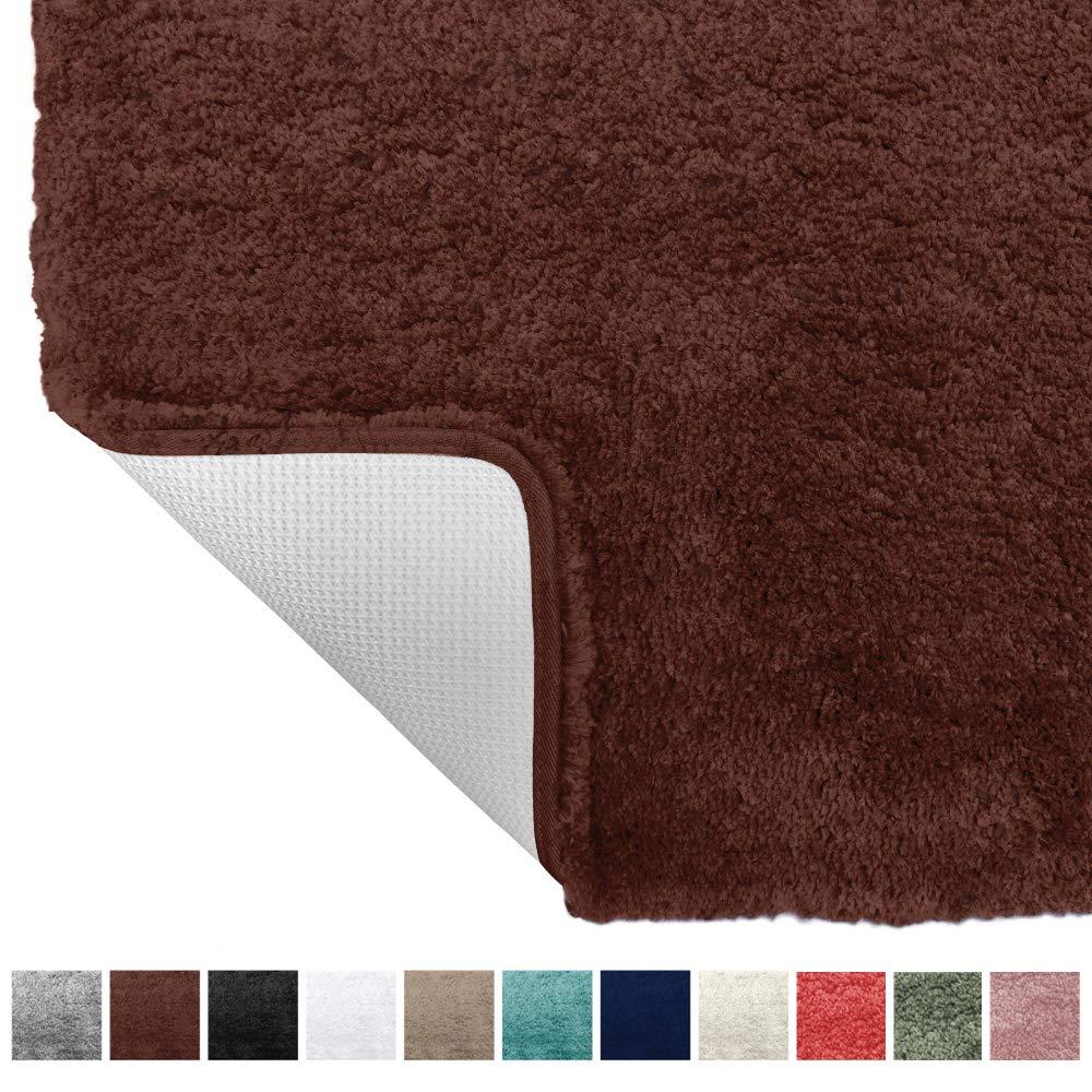 Gorilla Grip Original Premium Luxury Bath Rug, 42x24 Inch, Incredibly Soft, Thick, Absorbent Bathroom Mat Rugs, Machine Wash and Dry, Plush Carpet Mats for Bath Room, Shower, Hot Tub, Spa, Brown