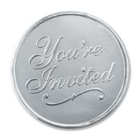 You're Invited Round Embossed Foil Seals, 48 Count (Silver)