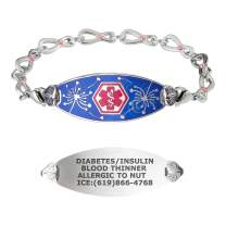 Divoti Custom Engraved Medical Alert Bracelets for Women, Stainless Steel Medical Bracelet, Medical ID Bracelet w/Free Engraving – Wishful Dandelions Tag w/Infinity Rose Crystal – Color/Size